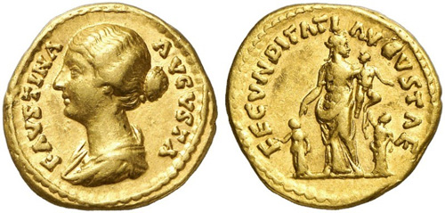 faustina daughter roman coin aureus